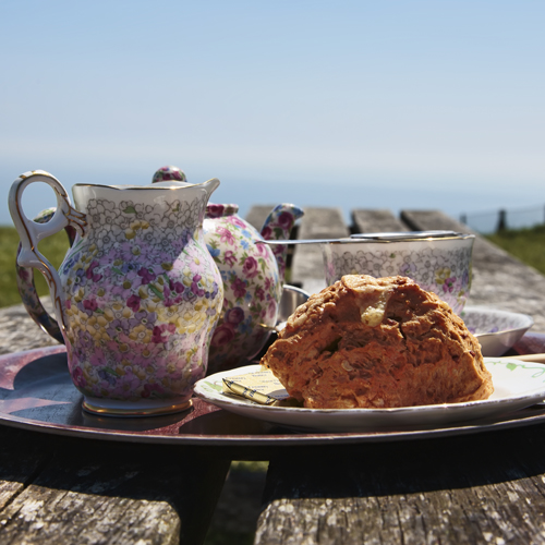 Scone, Tea and Scone at South Foreland lighthouse, White Cliff Country, Dover, Kent